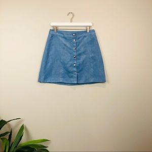 H&M Divided blue suede mini button down skirt 12